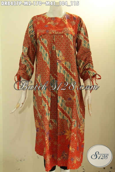 Baju Batik Dress Wanita Desain Keren Dan Kekinian, Busana Batik Modern Untuk Tampil Gaya Cantik Mempesona Hanya Dengan 170K Asli Buatan Solo, Size M