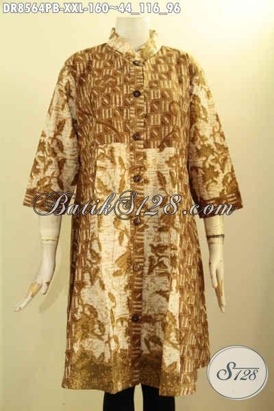 Jual Tunik Batik Dress Krah Shanghai Lengan 7/8 Pakai Kancing Depan, Busana Batik ELegan Yang Membuat Wanita Anggun Menawan