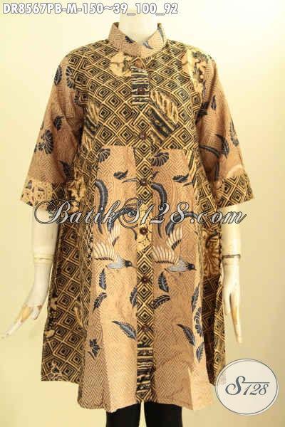 Baju Tunik Batik Dress Wanita Masa Kini, Hadir Dengan Kerah Shanghai Lengan 7/8 Di Lengkapi Kancing Depan, Tampil Anggun Menawan