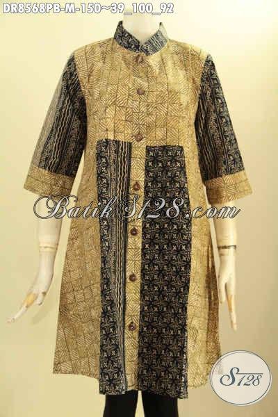 Busana Batik Tunik Batik Dress Solo Terbaru, Baju Batik Jawa Tengah Nan Elegan Bahan Adem Motif Bagus Proses Printing Model Lengan 7/8 Krah Shanghai Kancing Depan