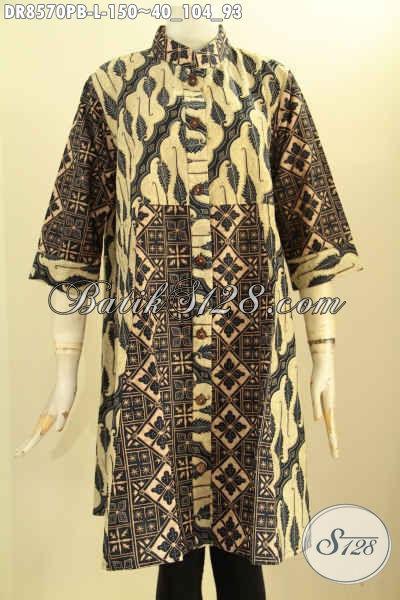 Produk Terbaru Baju Batik Wanita Khas Jawa Tengah, Tunik Batik Dress Lengan 7/8 Kancing Depan Dengan Kerah Shanghai, Elegan Untuk Acara Resmi