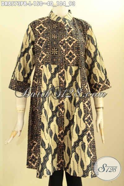 Pusat Baju Batik Modern, Jual Tunik Batik Dress Motif Klasik Proses Printing Cabut, Pakaian Batik Wanita Kekinian Lengan 7/8 Kancing Depan Kerah Shanghai Hanya 100 Ribuan