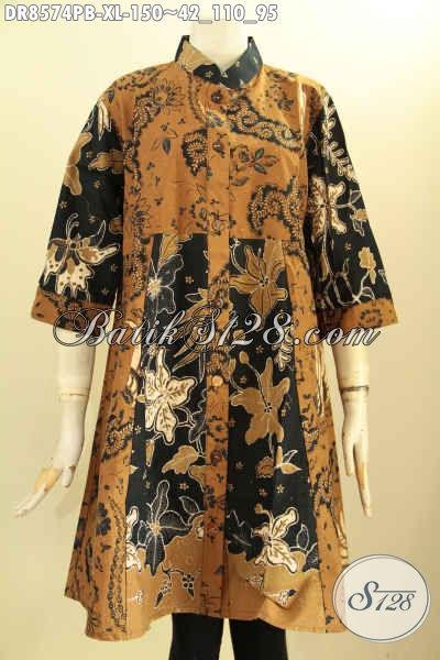 Sedia Tunik Batik Dress Untuk Kerja Kantoran, Busana Batik Elegan Kancing Depan Krah Shanghai Dengan Lengan 7/8, Tampil Cantik Dan Anggun