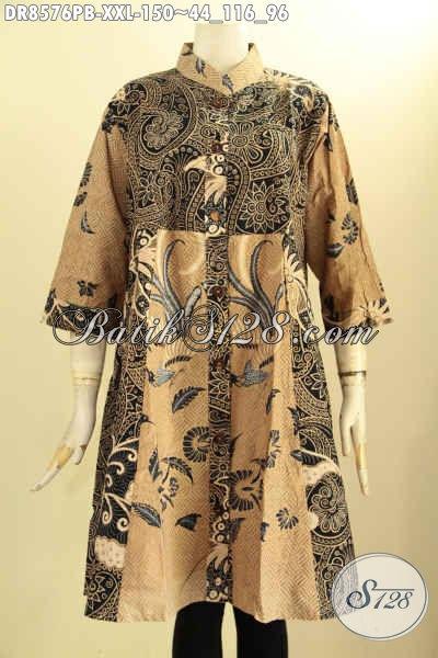 Produk Baju Batik Dress Solo Mewah Harga Terjangkau, Tunik Batik Modis Lengan 7/8 Bahan Adem Di Lengkapi Kancing Depan, Tampil Cantik Menawan