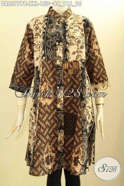 Dress Batik Wanita Gemuk Lengan 7/8, Tunik Batik Kancing Depan Kerah Shanghai, Menunjang Penampilan Lebih Berkelas Dan Elegan