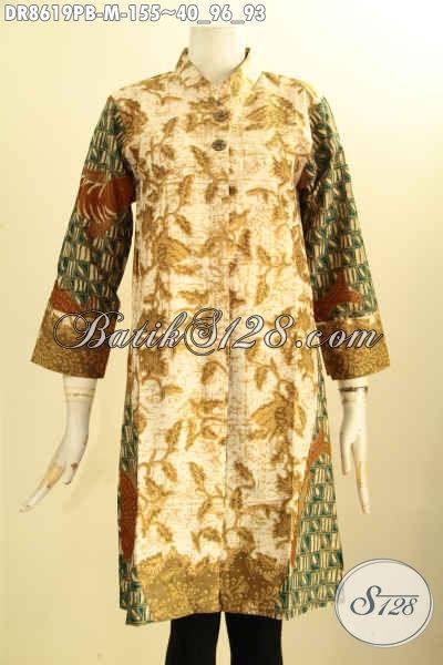 Baju Batik Dress Lengan 7/8 Kerah Shanghai Pakai Kancing Depan, Busana Batik Elegan Yang Membuat Wanita Anggun Menawan