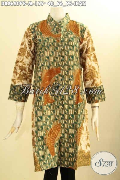Baju Batik Dress Motif Ikan Nan Elegan, Produk Baju Batik Solo Lengan 7/8 Bahan Adem Proses Printing Cabut Pakai Kancing Depan, Cocok Buat Acara Resmi