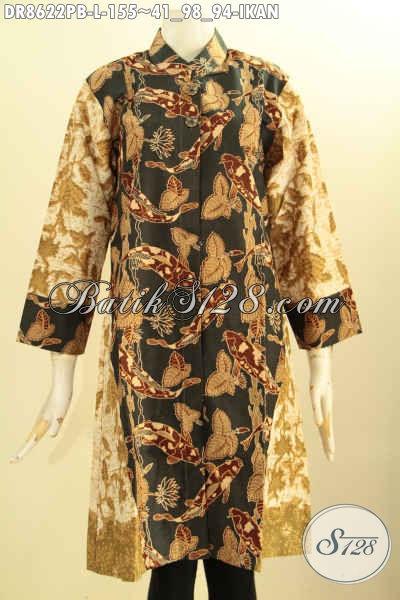 Busana Batik Dress Motif Ikasn Kwalitas Bagus, Tunik Batik Elegan Kerah Shanghai Nan Istimewa Bahan Adem Proses Printing Cabut Lengan 7/8 Kancing Depan