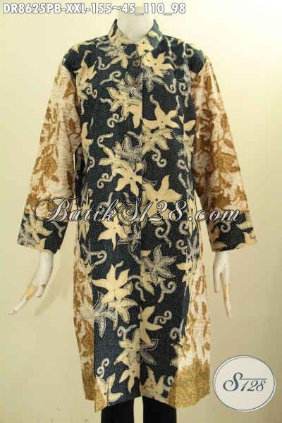 Tunik Batik Dress Dual Warna, Busana Batik Modis Kerah Shanghai Lengan 7/8 Kancing Depan, Pas Buat Ngantor Dan Acara Resmi
