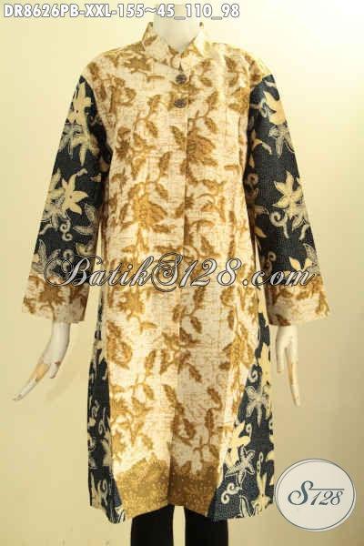 Olshop Busana Batik Wanita Terlengkap, Sedia Tunik Batik Dress Berkelas Proses Printing Motif Bagus Model Kerah Shanghai Lengan 7/8 Pakai Kancing Depan, Tampil Modis Dan Menawan