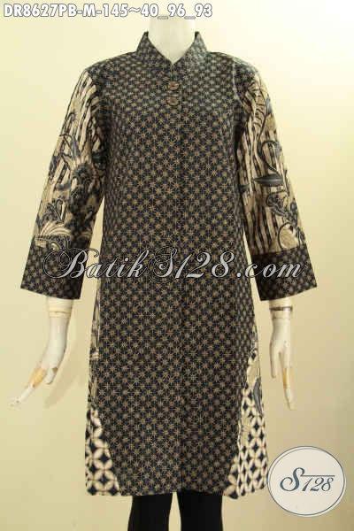 Tunik Batik Dress Motif Klasik Dual Warna, Busana Batik Elegan Kerah Shanghai Untuk Wanita Muda Dengan Lenagn 7/8 Dan Kancing Depan