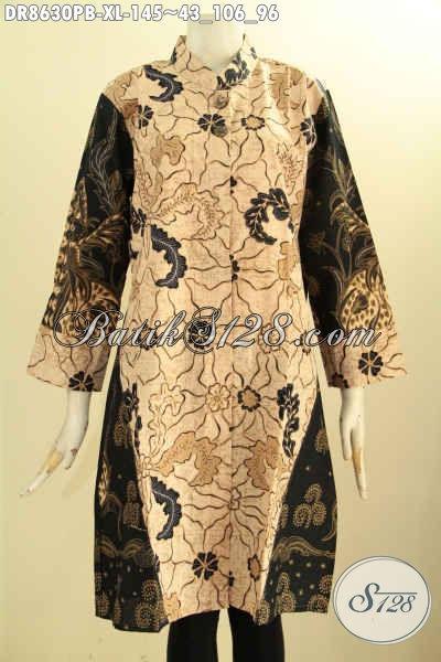 Sedia Baju Batik Dress Kwalitas Istiemwa, Tunik Batik Lengan 7/8 Kerah Shanghai Pakai Kancing Depan Harga Terjangkau