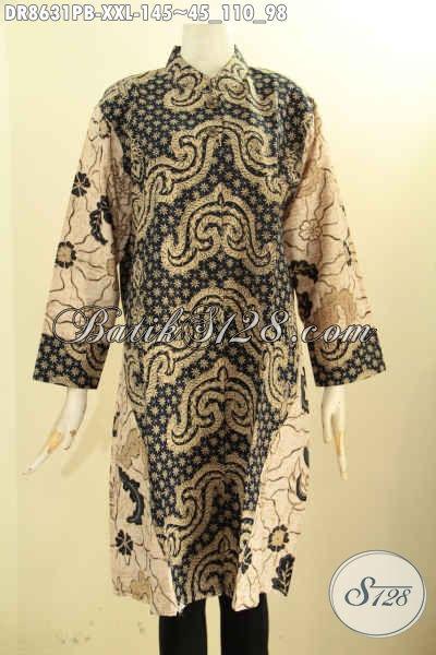 Baju Batik Cewek Modis Lengan 7/8 Motif Elegan, Tunik Batik Dress Kerah Shanghai Kancing Depan Proses Printing Cabut, Bisa Buat Santai Dan Resmi [DR8631PB-XXL]