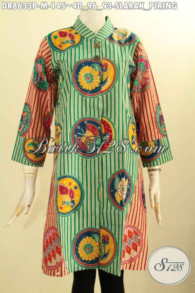 Produk Baju Batik Wanita Modis Terkini, Tunik Batik Dress Motif Slarak Piring Kerah Shanghai Lengan 7/8 Kancing Depan Hanya 145K