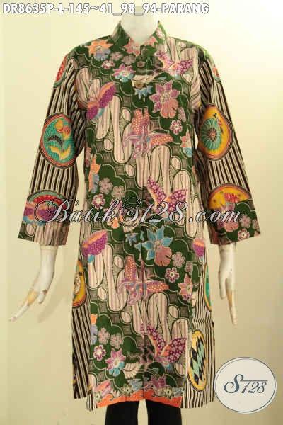 Model Baju Tunik Batik Dress Buatan Solo Motif Parang Busana Batik