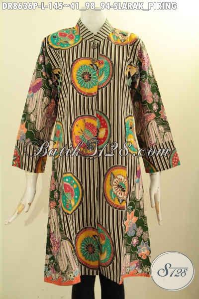 Jual Batik Tunik Dress Modis Desain Elegan, Busana Batik Wanita Kerah Shanghai Lengan 7/8 Kancing Depan Motif Slarak Piring, Cocok Buat Ngantor