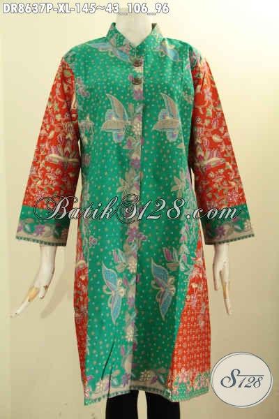 Jual Online Tunik Batik Dress Modern Pilihan Wanita Karir, Busana Batik Modis Lengan 7/8 Kancing Depan Kerah Shanghai Hanya 100 Ribuan Saja