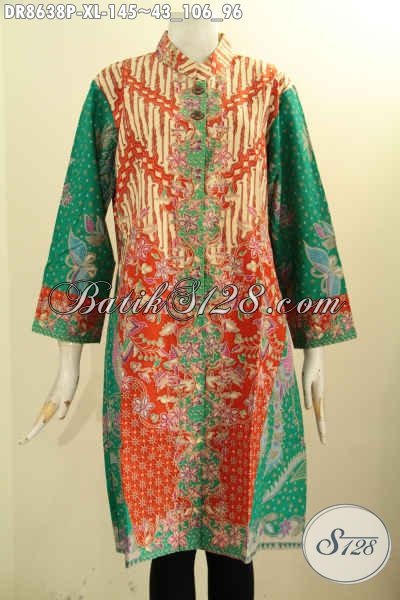 Baju Batik Dress Lengan 7/8, Busana Batik Trendy Dan Istimewa Desain Kerah Shanghai Pakai Kancing Depan Motif Bagus Proses Printing Hanya 145K