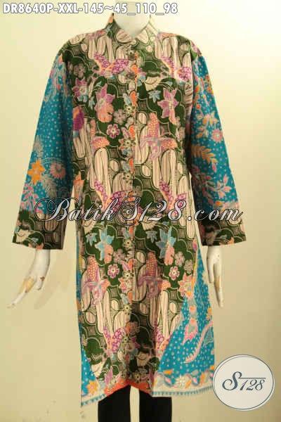 Pakaian Batik Solo Jawa Tengah Lengan 7/8, Baju Tunik Dress Bahan Batik Printing Motif Bagus Model Kerah Shanghai Dan Kancing Depan, Cocok Buat Ngantor