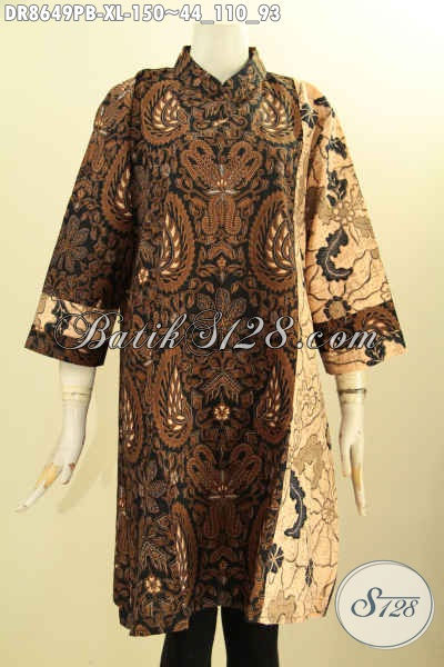Produk Baju Batik ELegan Mewah Size XL, Tunik Dress Batik Wanita Dewasa Motif Klasik Lengan 7/8 Resleting Belakang Saku Dalam Bahan Adem Hanya 100 Ribuan
