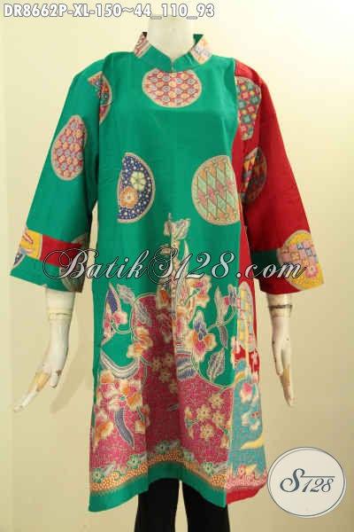 Tunik Batik Dress Istimewa Lengan 7/8 Resleting Belakang, Pakaian Batik Halus Motif Trendy Bahan Adem Proses Printing Dengan Krah Shanghai Dan Saku Dalam