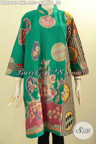 Tunik Batik Dress Modis Kerah Shanghai, Pakaian Batik Istimewa Untuk Wanita Gemuk Lengan 7/8 Resleting Belakang Pakai Saku Dalam, Pas Untuk Acara Santai Dan Resmi