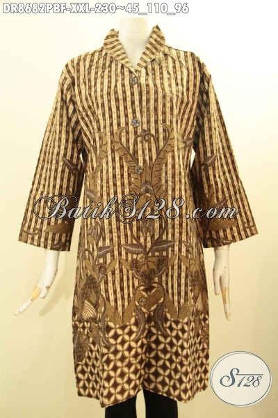 Batik Dress Wanita Gemuk, Pakaian Batik Elegan Kerah Langsung Bahan Adem Proses Printing Motif Klasik, Menunjang Penampilan Lebih Berkelas