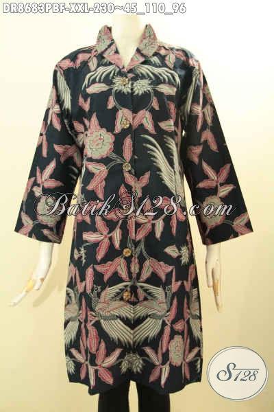 Batik Blouse Wanita Daleman Full Furing Tricot, Pakaian Batik Elegan Untuk Cewek Gemuk Model Kerah Langsung Bahan Adem, Bisa Untuk Santai Dan Resmi