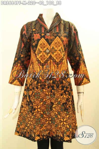 Sedia Koleksi Terbaru Batik Dress Wanita Model Kerah Langsung, Bahan Halus Motif Bagus Proses Printing Daleman Pakai Tricot, Tampil Terlihat Mewah