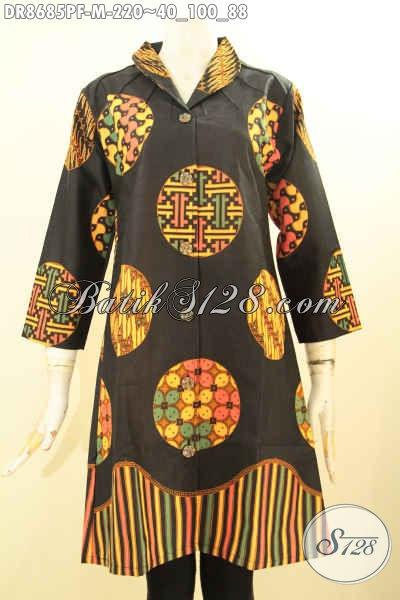 Batik Dress Motif Trendy, Busana Batik Keren Untuk Wanita Muda Tampil Beda Dan Gaya, Bahan Halus Proses Pirnting Model Kerah Langsung Daleman Furing Tricot [DR8685PF-M]