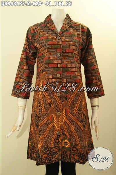 Produk Pakaian Batik Terbaru Khas Jawa Tengah, Dress Batik Kerah Langsung Bahan Adem Motif Mewah Proses Printing Daleman Full Furing, Penampilan Cantik Dan Anggun
