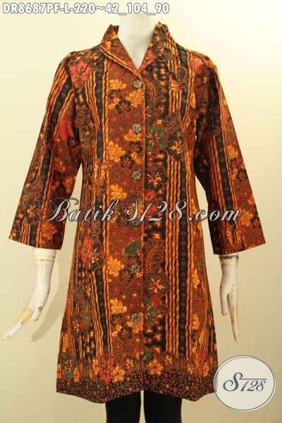 Baju Batik Kerja Wanita Karir, Dress Batik Elegan Desain Mewah Kerah Langsung, Pakaian Batik Modis Motif Bagus Proses Printing Daleman Full Furing, Penampilan Terlihat Sempurna