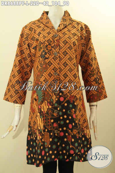 Sedia Busana Batik Wanita Tren Masa Kini, Dress Batik Solo Jawa Tengah Nan Berkelas Motif Klasik Proses Printing Daleman Di Lengkapi Furing, Tampil Cantik Dan Anggun