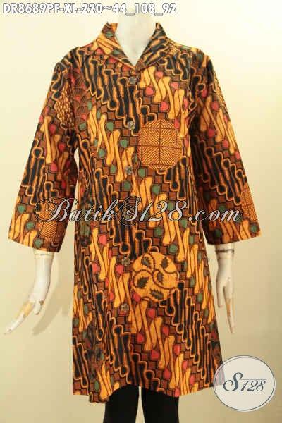 Model Busana Batik Wanita Nan Elegan Dan Mewah, Pakaian Batik Dress Motif Klasik Printing Desain Kerah Langsung Daleman Full Tricot, Pilihan Tepat Untuk Tampil Berkelas