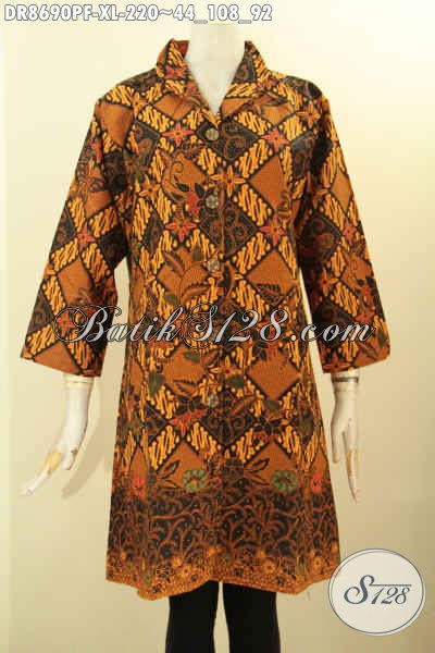Pakaian Batik Dress Kerah Langsung Koleksi Terkini, Busana Batik Solo Halus Nan Mewah Harga Terjangkau Motif Klasik Proses Printing, Cocok Banget Untuk Kondangan