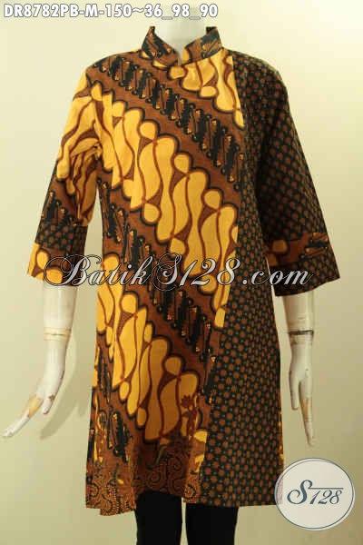 Sedia Pakaian Batik Dress Dual Motif, Busana Batik Modern Kerah Shanghai Lengan 7/8 Halus Proses Printing Cabut Harga 150K