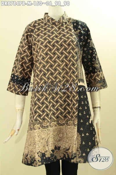 Jual Baju Batik Dress Resleting Belakang, Pakaian Batik Solo Jawa Tengah Halus Motif Kombinasi Desain Kerah Shanghai Lengan 7/8, Tampil Terlihat Berkelas [DR8784PB-M]