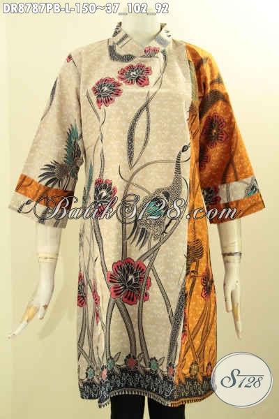 Produk Terbaru Busana Batik Solo Masa Kini, Dress Batik Kerah Shanghai Lengan 7/8 Bahan Adem Motif Kombinasi Di Lengkapi Resleting Belekang Hanya 150K [DR8787PB-L]