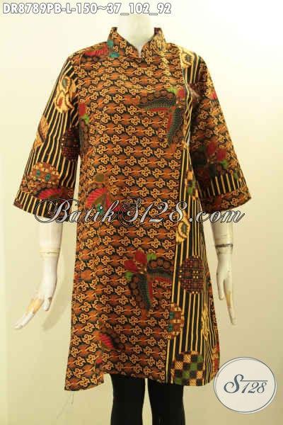 Model Baju Batik Dress Terkini, Busana Batik Wanita Terbaik Lengan 7/8 Kwalitas Istimewa Model Kerah Shanghai Resleting Belakang Motif Kombinasi, Pas Buat Ngantor
