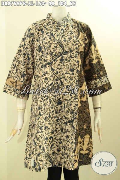 Batik Dress Kerah Shanghai Lengan 7/8, Busana Batik Elegan Mewah Motif Kombinasi Di Lengkapi Resleting Belakang Untuk Kerja Dan Acara Resmi Tampil Anggun