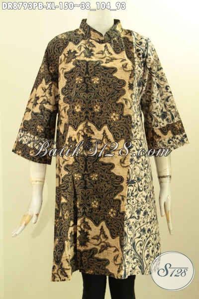 Baju Batik Dress Solo Terbaru, Hadir Dengan Model Resleting Belakang Lengan 7/8 Motif Bagus Berpadu Dengan Kerah Shanghai, Bikin Penampilan Cantik Berkelas [DR8793PB-XL]