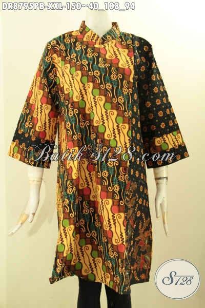 Batik Dress Wanita Gemuk Motif Elegan Klasik, Busana Batik Solo Nan Berkelas Model Lengan 7/8 Kerah Shanghai Dengan Resleting Belakang Penampilan Cantik Serta Anggun