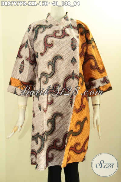 Pakaian Batik Kerja Wanita Size XXL, Dress Batik Jumbo Modis Model Kerah Shanghai Resleting Belakang Dengan Lengan 7/8 Penampilan Anggun Mempesona