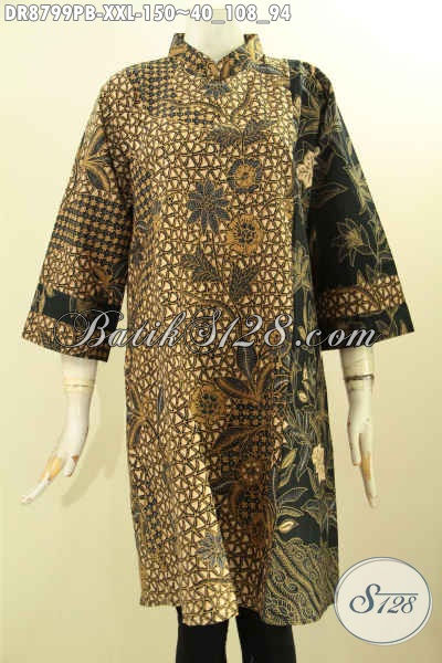 Jual Baju Batik Online Lengan 7/8, Dress Batik Wanita Kekinian Bahan Adem Motif Klasik Printing Cabut Desain Kerah Shanghai Resleting Belakang, Cocok Untuk Acara Formal