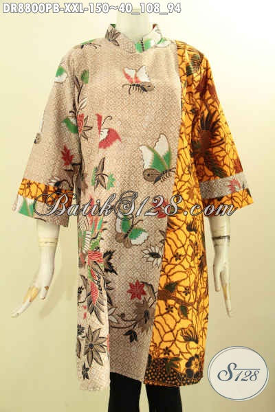 Koleksi Busana Batik Wanita Gemuk Terkini Untuk Penampilan Lebih Berkelas, Dress Batik Lengan 7/8 Dual Motif Pakai Kerah Shanghai Dan Resleting Belakang Asli Solo [DR8800PB-XXL]