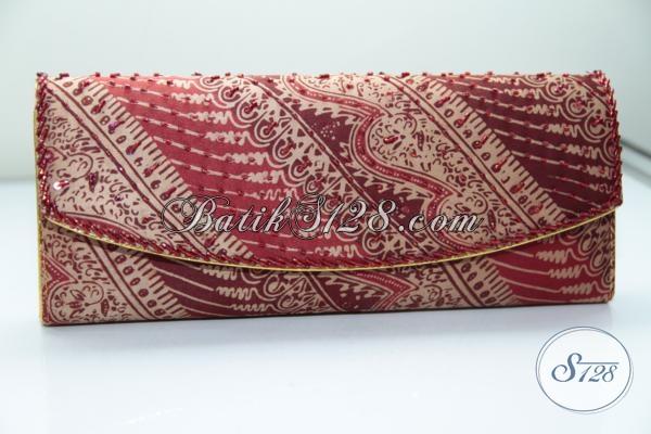 Dompet Batik Payet Bahan Sutra Ukuran 25x10cm, Keren, Mewah, Berkelas [DS0007BY]