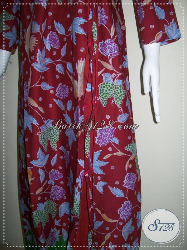 Gamis Batik Berwarna Merah,Gamis Cantik Untuk Hijabers [G012P-MXL]