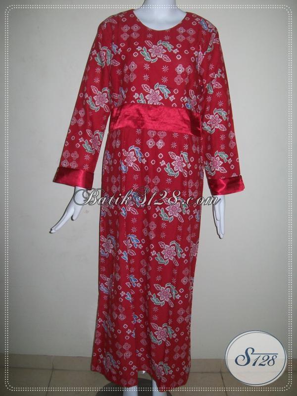 Gamis Batik Merah Hijabres Tampil Mewah Baju Batik Muslim
