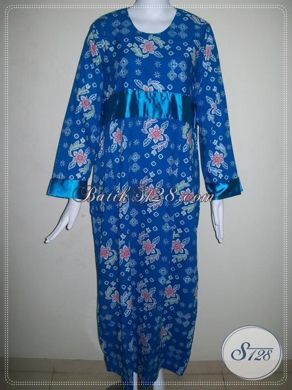 Gamis Batik Terbaru Warna Biru Model Trend Terkini Baju