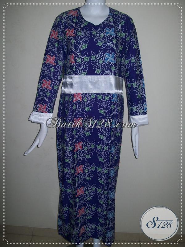 Sedia Pakaian Gamis Batik Warna Biru Donker Baju Muslim